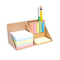 Cubo ecologico para escritorio con post it señaladores carton